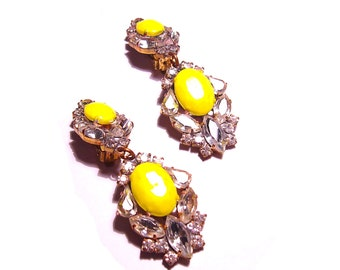 One of a Kind Neon Hand Painted Vintage Rhinestone Earrings -Neon Goddess