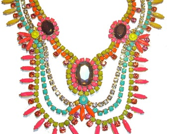 One of a Kind Hand painted Vintage Rhinestone Necklace (As seen on Refinery29) - Neon spikes (Example)