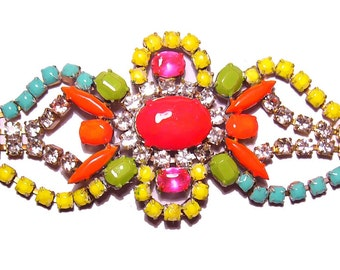 One of a Kind Neon Handpainted Vintage Rhinestone Bracelet - La Bohème III (Glow in the dark)