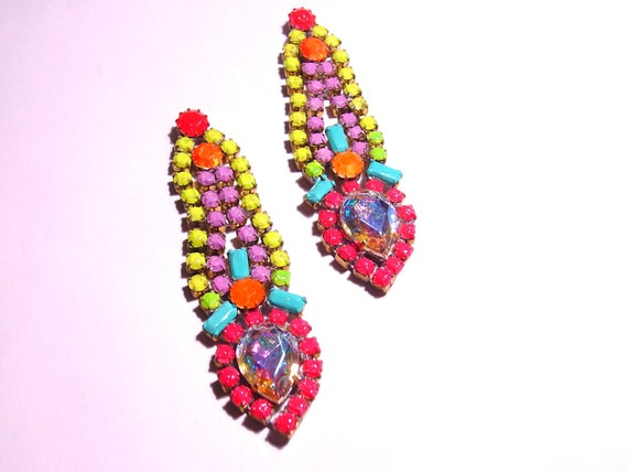 RESERVED One of a Kind Neon Handpainted Vintage Rhinestone Earrings