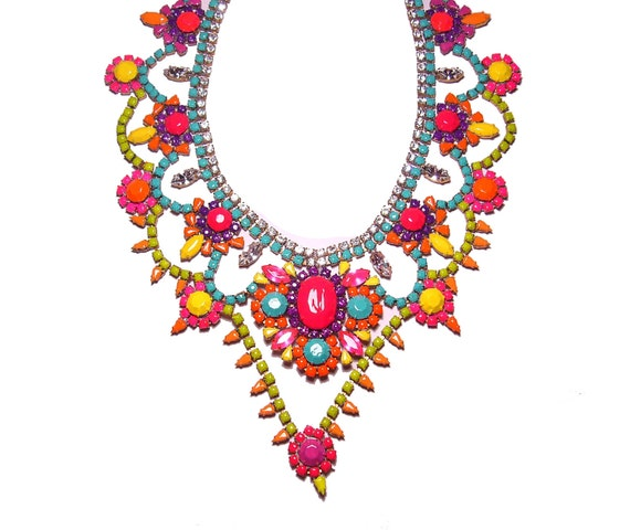 Custom One of a Kind Pastel and Neon Handpainted Vintage Rhinestone Necklace (Example)