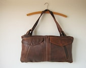 RESERVED brown leather bag, handmade from repurposed materials with zipper and multiple pockets