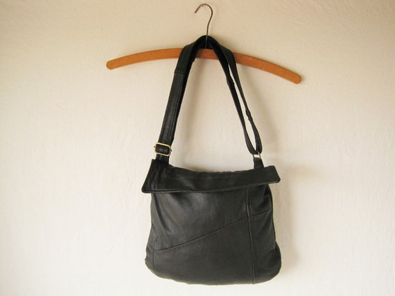 black leather purse with adjustable strap and small flap, handmade with eco friendly , repurposed materials