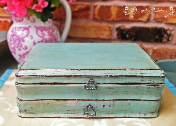 Shabby Turquoise Jewelry Box