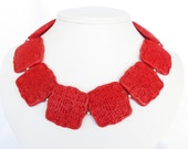 BIG BOLD CHUNKY Cinnbar Red Statement Necklace - Chunky Red Necklace