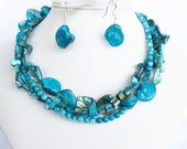 Turquoise Necklace, Turquoise Blue Shell Necklace and Earrings - Turquoise Blue Bridal