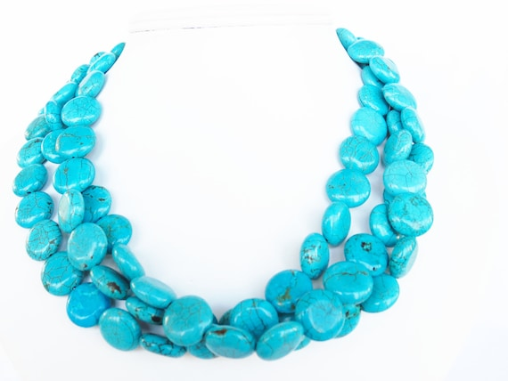 Turquoise Necklace - 3 Strand Chunky Blue Green Turquoise Coin Statement Necklace
