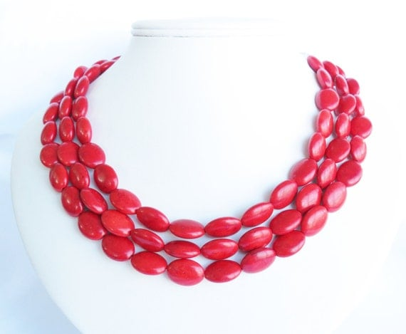 Red Turquoise Statement Necklace - Red Bridal Necklace
