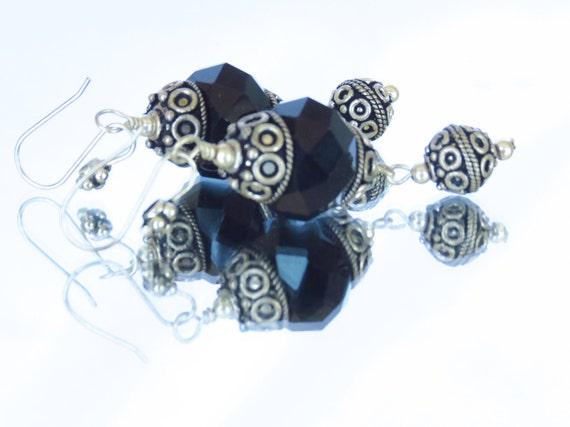 Black Crystal and Bali Silver Dangle Lantern Earrings - Black Earrings