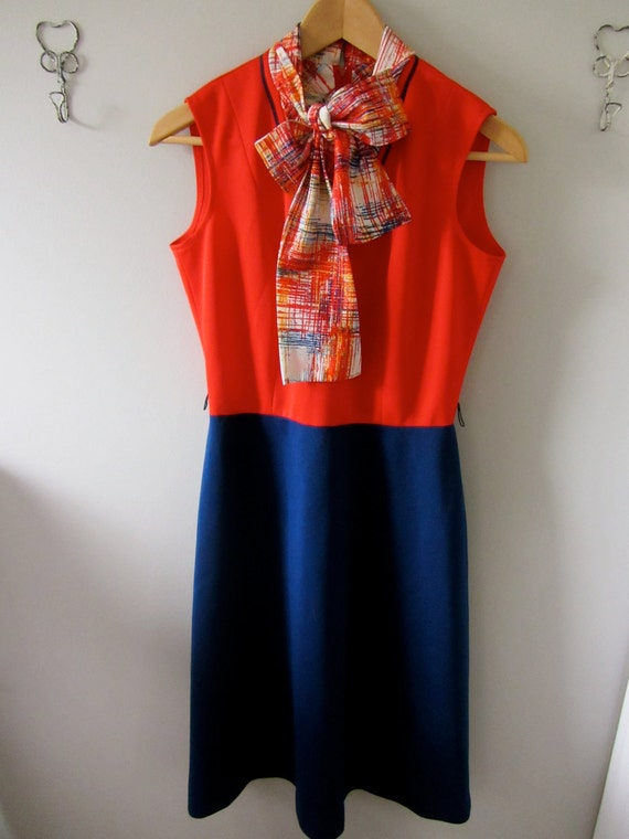 SALE // Vintage Red and Navy Colorblock Sleeveless Dress // Small