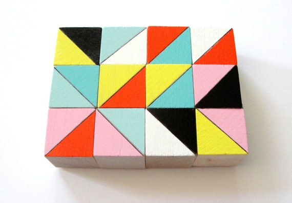 Tokyo Color Block Magnets  | |  12 Count Set | | Wooden | | Geometric | | Office and Kitchen Decor | | Retro Black White