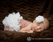 Newborn Ruffled Romper Photography Prop in Baby Alpaca Shimmer size nb and 0-3 months