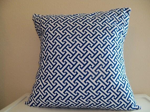 18x18 Royal Blue and White Greek Key Geometric Design Pillow Cover