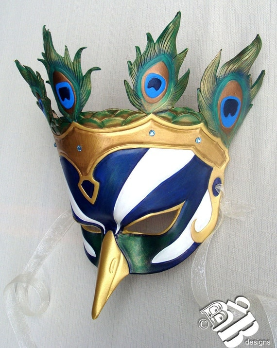 Queen of the Greek Pantheon, Hera Peacock Leather Mask