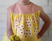BEATRICE little girl toddler dress SMOCK round yoke vintage inspired DAISY yellow orange retro polka dots 1950s by little ticket