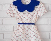betsy | vintage inspired toddler & little girls dress | royal blue scalloped collar | handmade by little ticket