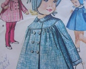 adorable vintage 1960s butterick toddlers COAT leggings hat sewing pattern SIZE 1 bonnet double breasted round yoke PETER pan collar