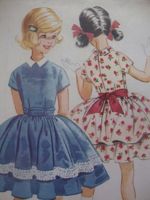 lovely 1960 vintage HELEN LEE mccalls sewing pattern girls party DRESS full gathered skirt sash retro size 10 uncut