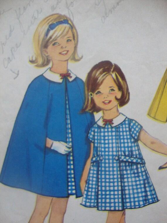 darling vintage girls DRESS cape sewing pattern simplicity 1964 retro MOD size 8 belt pleats short sleeves