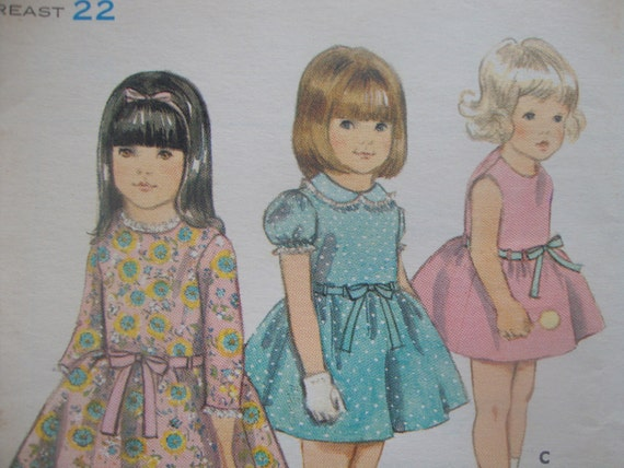 CUTE vintage butterick sewing pattern UNCUT girls dress jewel neck fitted bodice SIZE 3 gathered skirt sleeve options 1960s