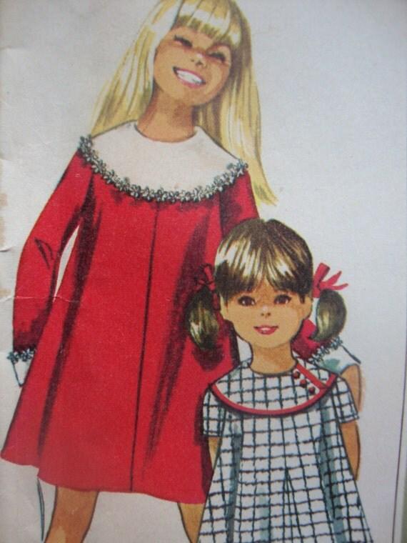 simplicity vintage 1967 DESIGNER fashion sewing pattern GIRLS dress detachable collar cuffs SIZE 8 tent dress sleeve options uncut
