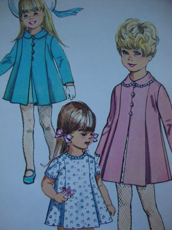 sweet vintage 1968 childs COAT dress simplicity sewing pattern PLEATED peter pan collar SIZE 4 very cute uncut