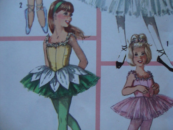 vintage 1965 childs BALLET costume simplicity sewing pattern  SIZE 6 tutu ballerina hat ruff retro TINY dancer uncut