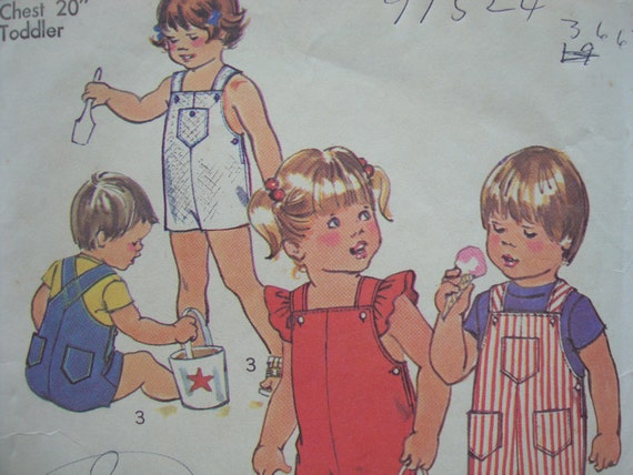 vintage 1975 TODDLER overalls simplicity sewing pattern SIZE 1 suspenders patch POCKETS long or short length