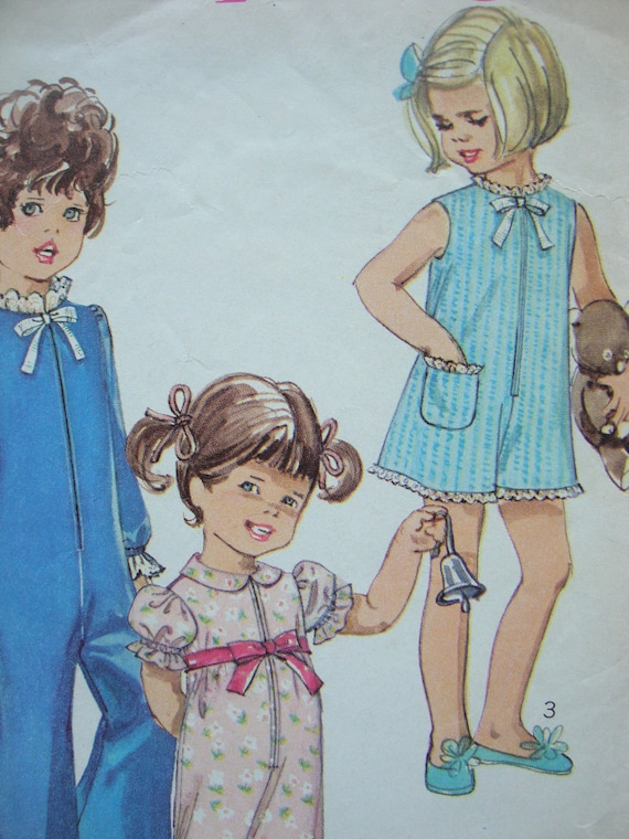 vintage 1968 simplicity childs PAJAMAS pantsuit sewing pattern SIZE 6 front zipper RETRO mod puff sleeves peter pan collar