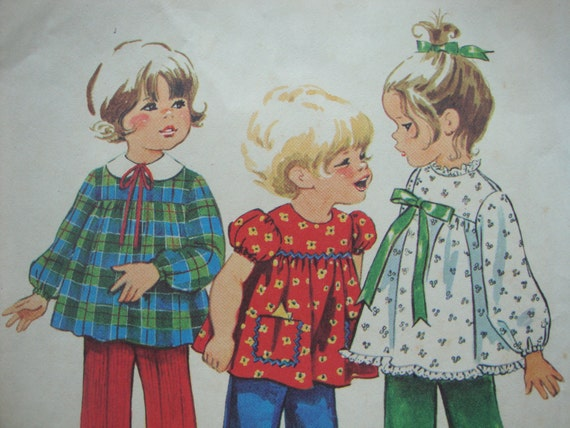 toddlers vintage 1971 simplicity TOP pants sewing pattern SIZE 1 baby cute RETRO yoke puff sleeves