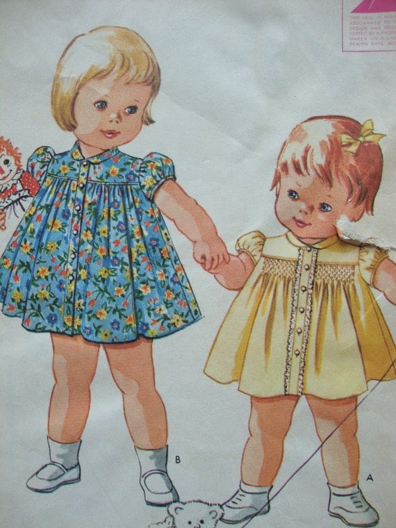 toddlers 6 MONTHS vintage mccalls sewing pattern DRESS baby yoke puff sleeves SMOCKING button front