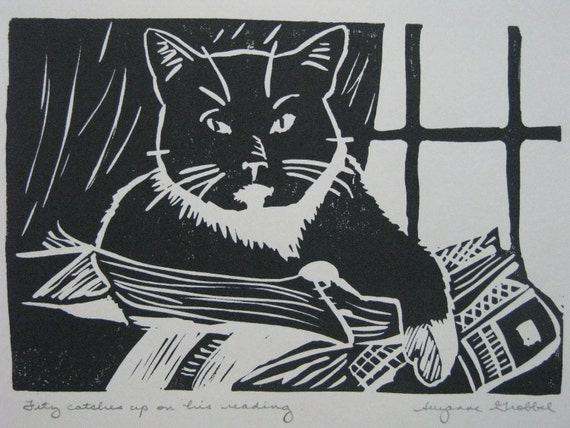 """Cat and books block print - """"Fitz catches up on his reading"""""""