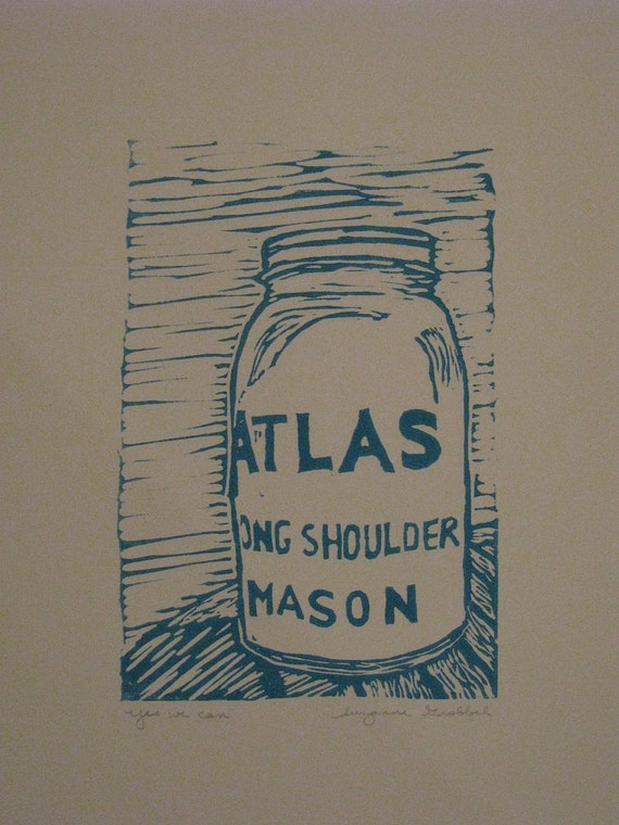 "Atlas mason jar block print - ""Yes we can"""