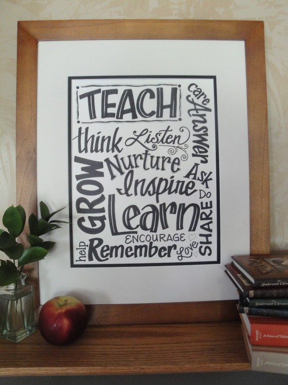 Teacher, Classroom, School, Artwork, Hand Lettered Sign