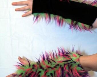 Fur Fingerless Gloves- Handmade Sewed