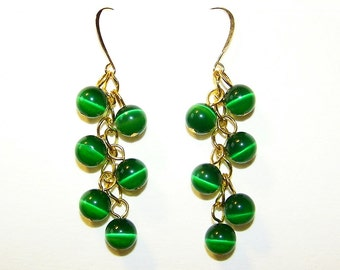 Cats Eye Grapes Earrings - Gold