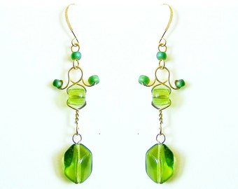 Green Bird Earrings