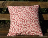 Rosy Dutch: Large Red Floral Patterned Envelope Cushion - includes both cover and cushion pad insert