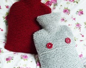 Chunky Hand Knitted Cosy Hot Water Bottle Cover in Red or Grey (with hot water bottle included inside)