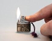 Vintage Japanese Mini Ladies Lighter With Art Nouveau Foil Wrap NOS