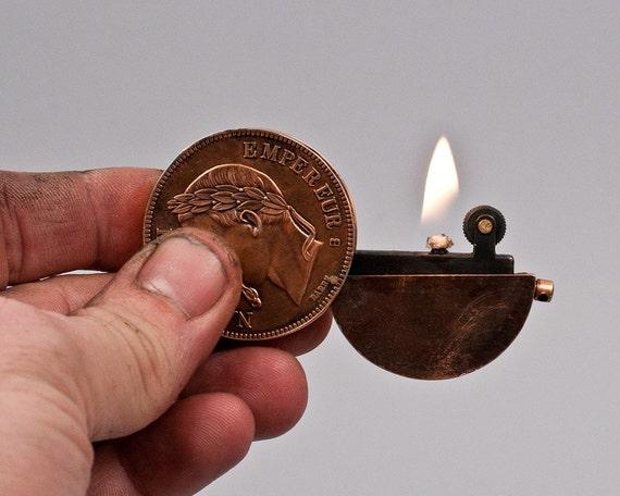 Vintage Napoleonic Copper Coin Pocket Lighter NOS