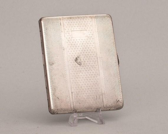 Vintage Slim British Emu Silver Plate Art Deco Cigarette Case