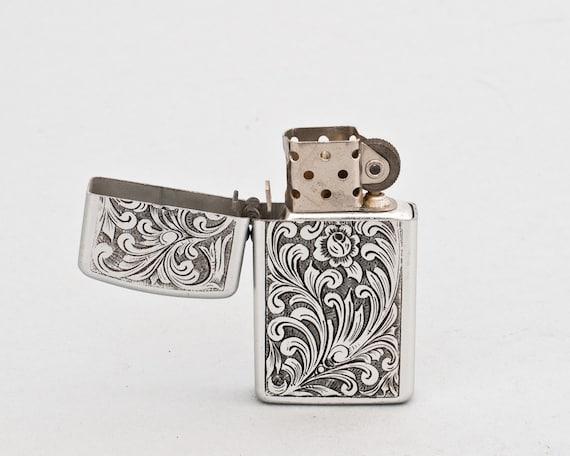 Working 1950s Park Lighter With Art Nouveau Floral Design NOS