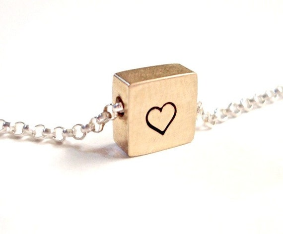 Portrait of a Heart - Free Floating Tiny Square Solid Brass Necklace Pendant Sterling Silver Chain Handstamped