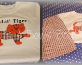 Custom Made Applique Lil Tiger Blue, Orange, and White tri-check gingham perfect for Football  We can add hairbow to tiger for Girls