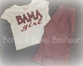 Custom Crimson Gingham Ruffled Pants with Matching Short Sleeve Tee with BAMA Girl Applique & Monogram So precious for any BAMA GIRL