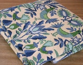 Vintage Upholstery Fabric with Bird and Floral Design in Blue and Green