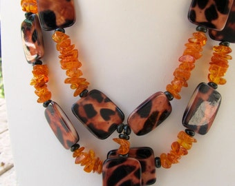 Amber and Mother of Pearl Necklace