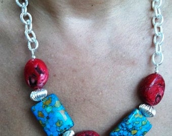 Blue Turquoise and Red Bamboo Coral Chain Necklace