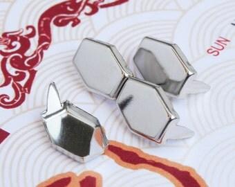 200 14mm x 10mm Silver Hexagon Flat Studs - SHR14